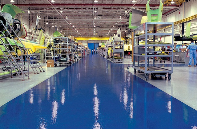 stonclad gs flooring in helicopter manufacturing facility